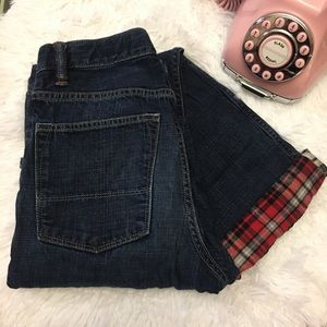 Gap kids slouch plaid lined jeans slim fit